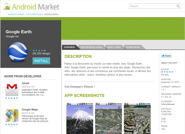 Android Market Web partie detail