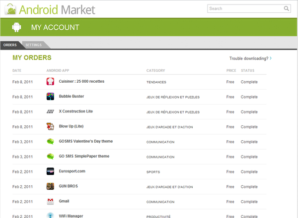 Android Market Web Mon compte