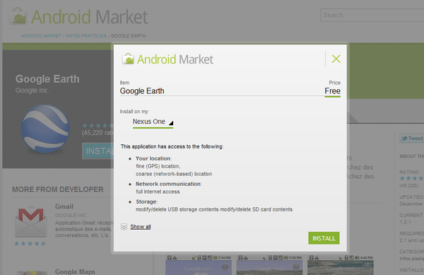 Android Market web installe
