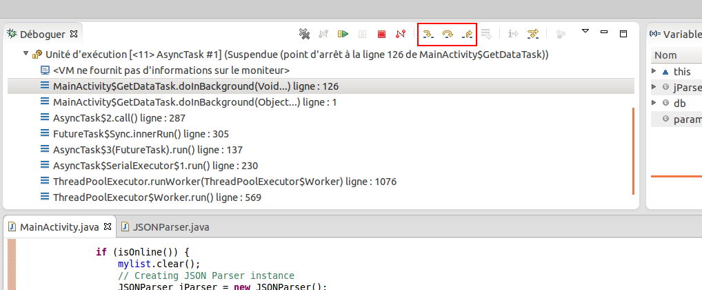 debugage pas a pas android eclipse