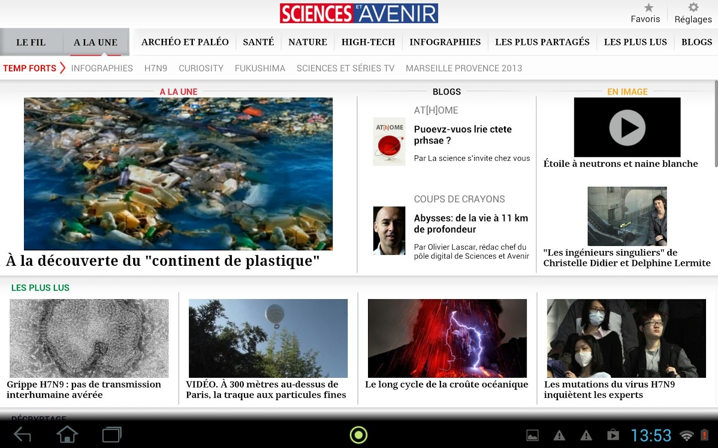 science et avenir android tablette