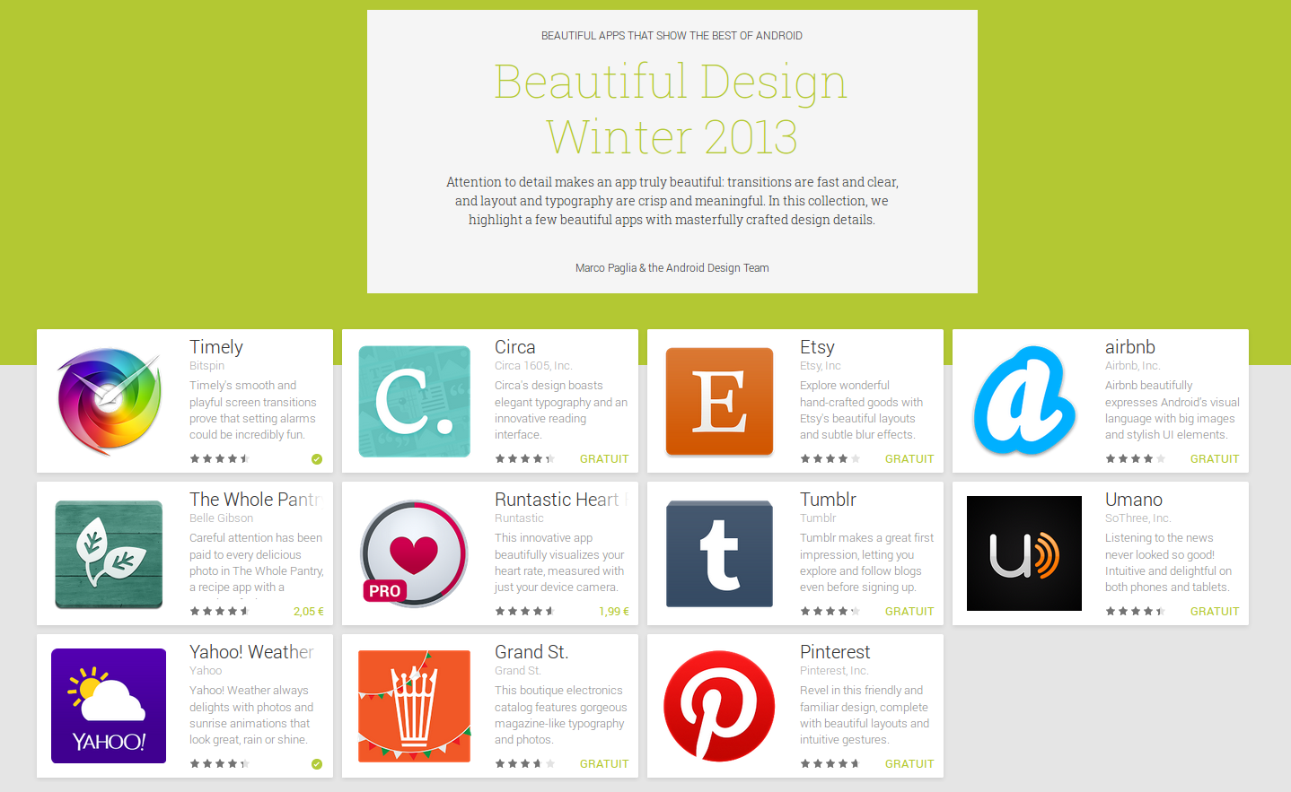 La collection d'application Android Beautiful Design Winter 2013