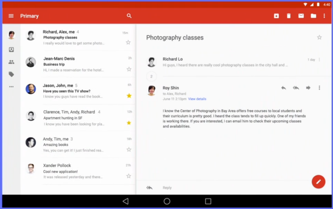 gmail tablet material design