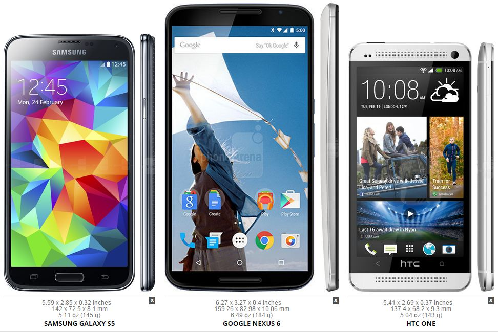 galaxy s5 nexus 6 htc one m7
