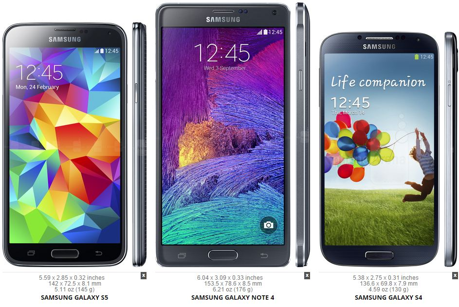 galaxy s5 note 4 s4