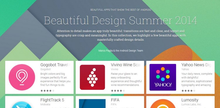 La collection d'application Android Beautiful Design Summer 2014