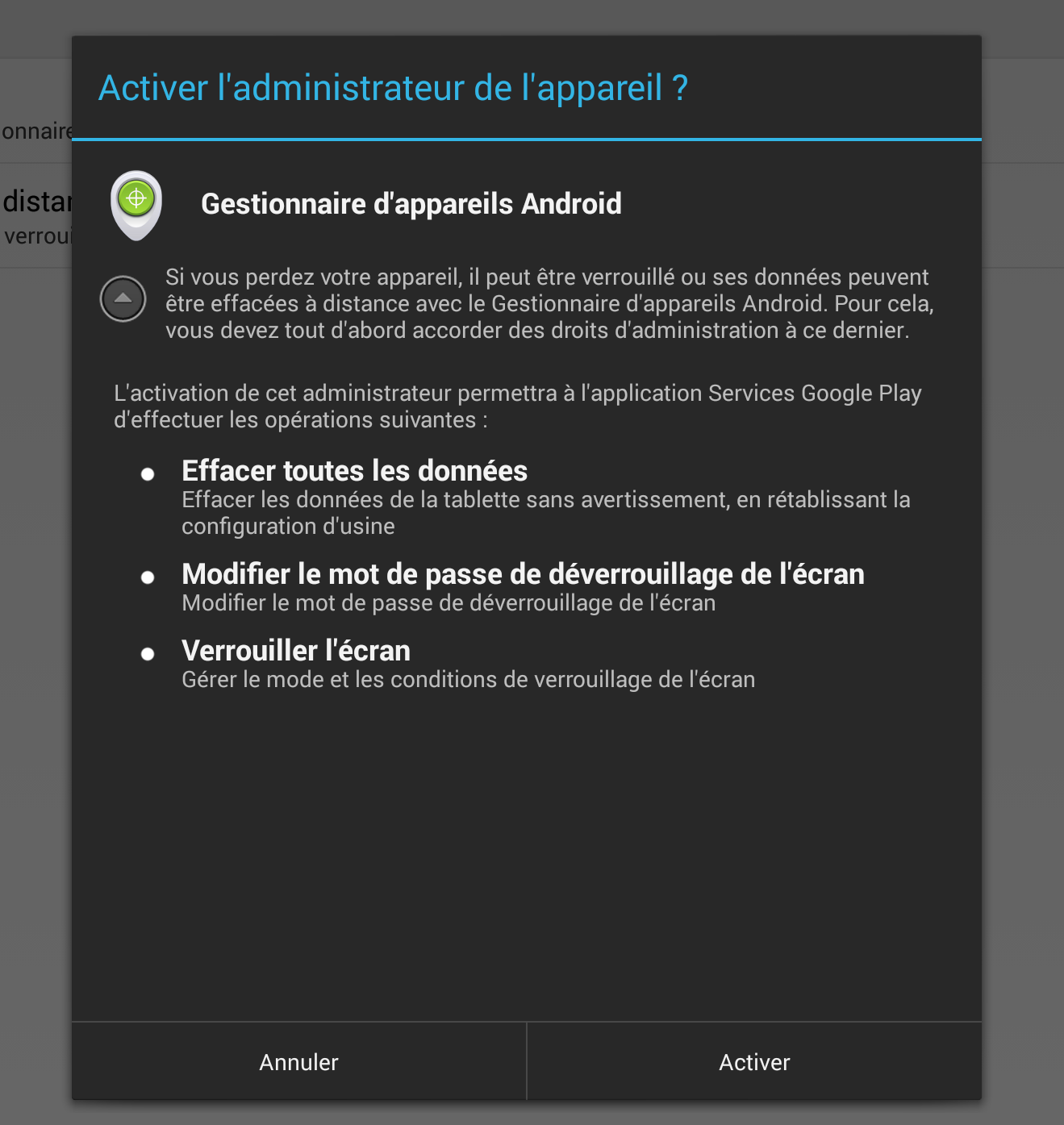 activer droit device manager