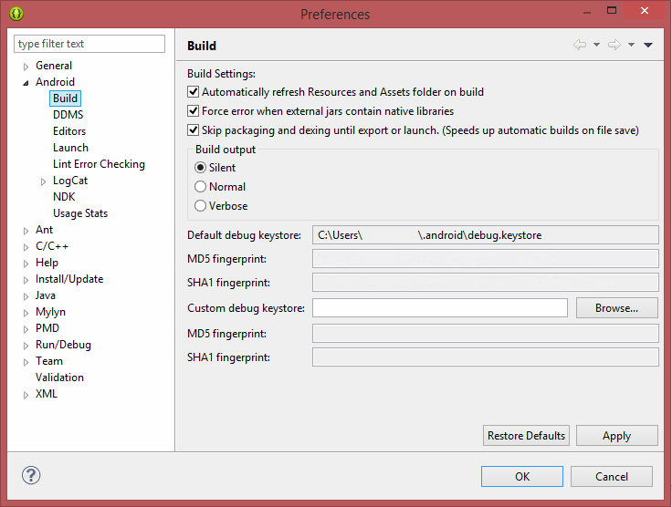build preference eclipse