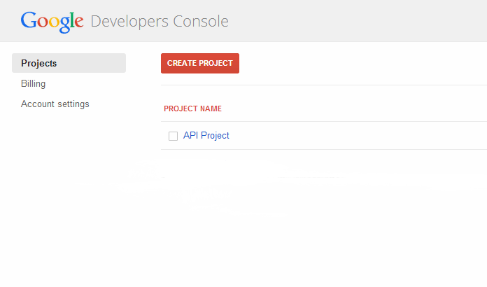 developers console new project