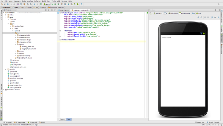 interface projet android studio